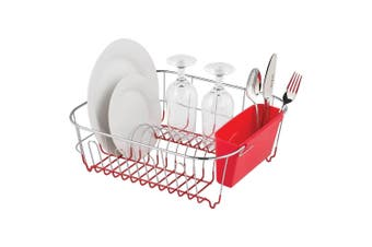 Avanti Slim Line Dish Rack Drying Holder Tray f  Cup Plates Cutlery Red Large