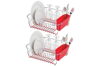 2x Avanti Slim Line Dish Rack Drying Holder Tray f  Cup Plates Cutlery Red Large