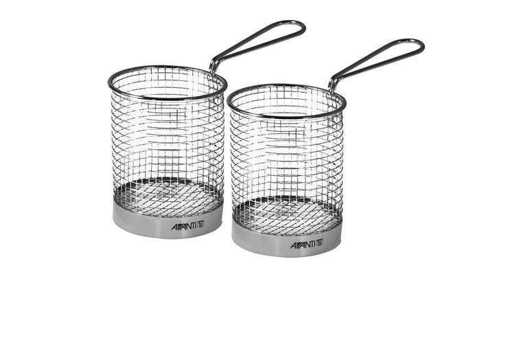 2x Avanti Round Fryer Basket Kitchen Bistro Chips Serving Bowl Food Presentation