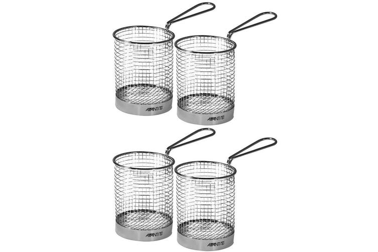 4x Avanti Round Fryer Basket Kitchen Bistro Chips Serving Bowl Food Presentation