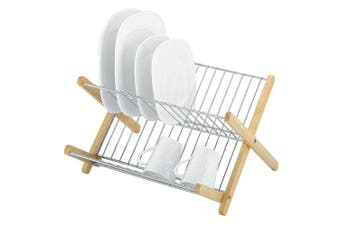Avanti Monterey Chromed Steel & Wood Timber Dish Rack Kitchen Holder Stand Dryer