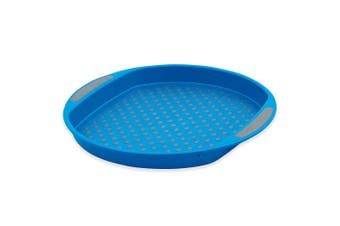 Avanti 40cm Round Non Slip Serving Plastic Tray Drink Food Dishes Server Blue
