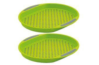 2pc Avanti 40cm Round Non Slip Serving Plastic Tray Drink Food Dish Server Green