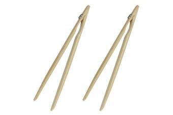 2x Avanti 12754 Bamboo Toast Tongs w  Magnet Utensil for Bread Crumpet Kitchen