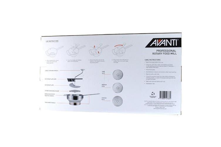 Avanti Stainless Steel Rotary Food Mill Strainer Masher Fruit Vegetable Tool