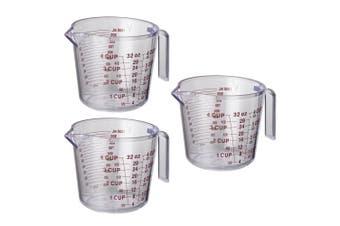 3PK Avanti BPA Free Plastic 1L Flour Water Kitchen Measuring Jug Cup w  Handle