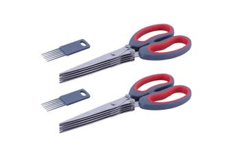 2x Avanti 5 Blade Dura Edge Herb Dicing Stainless Scissors Kitchen Shears Cutter