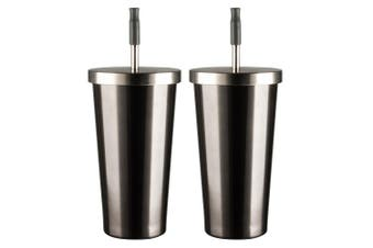 2x Avanti 500ml Stainless Steel Smoothie Tumbler Insulated Cup w  Straw Gunmetal