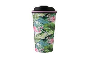 Avanti 410ml Go Cup Double Wall Insulated S S Travel Mug w Lid Flamingo Leaf