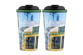2PK Avanti 410ml Go Cup Stainless Steel Double Wall Insulated Mug St Kilda Tram