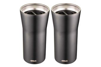 2x Avanti 360 Gocup 335ml Stainless Steel Double Wall Insulated Flask Tumbler BK