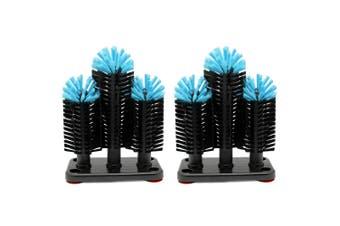 2x Vin Bouquet Triple Brush Glass Washer Glassware Cup Mug Kitchen Cleaner Black