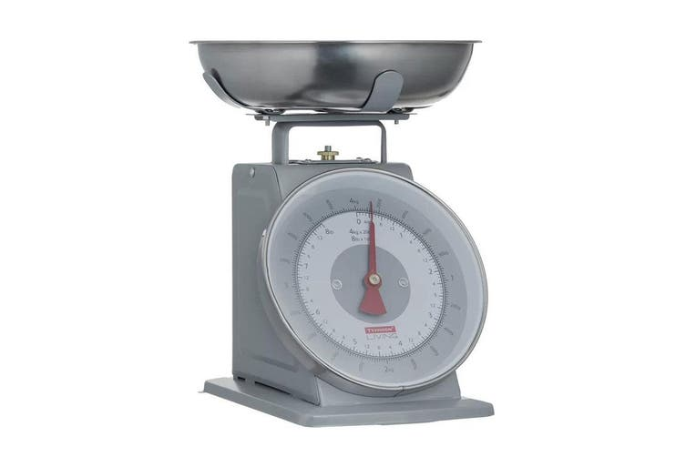 Typhoon Living 4kg Kitchen Scale Food Weight Measure w Stainless Steel Bowl Grey