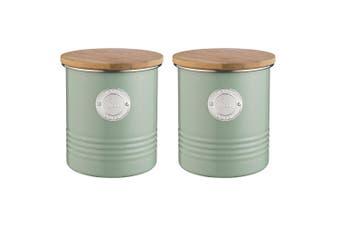 2PK Typhoon 1L Sage Living Metal Tin Tea Canister Storage Jar w  Bamboo Wood Lid