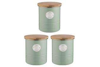 3PK Typhoon 1L Sage Living Metal Tin Tea Canister Storage Jar w  Bamboo Wood Lid