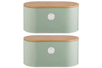 2PK Typhoon 1L Sage Metal Tin Living Bread Can Container Storage Jar w  Wood Lid