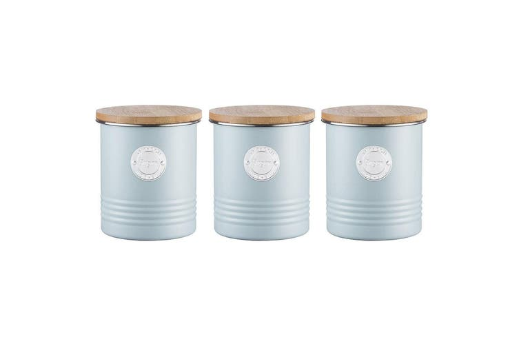 3PK Typhoon 1L Blue Metal Tin Sugar Can Container Storage Jar w  Bamboo Wood Lid