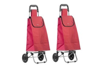 2PK Typhoon Red Grocery Shopping Cart Trolley Portable Foldable Bag Basket