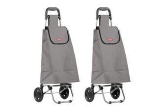 2PK Typhoon Grey Grocery Shopping Cart Trolley Portable Foldable Bag Basket