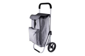 Karlstert Aluminium Shopping Trolley Portable Grocery Basket Bag Graphite Grey
