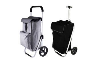 2pc Karlstert Aluminium Shopping Trolley Grocery Basket Bag Graphite Grey Black