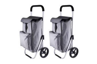 2x Karlstert Aluminium Shopping Trolley Portable Grocery Basket Bag Graphite GRY