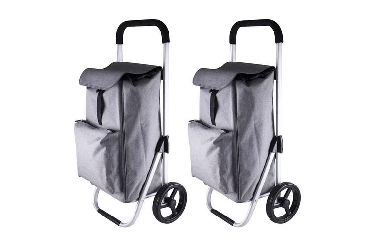 2x Karlstert Aluminium Shopping Trolley Portable Grocery Basket Bag Graphite GRY