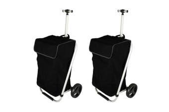 2PK Karlstert Aluminium Shopping Trolley Portable Grocery Bag Luggage Basket BLK