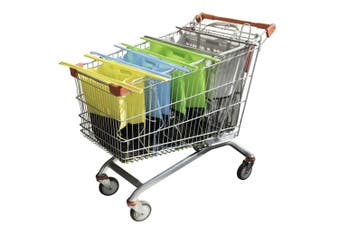 4pc Karlstert Sort & Carry Food Shopping Carrier Grocery Bags for Trolley Cart