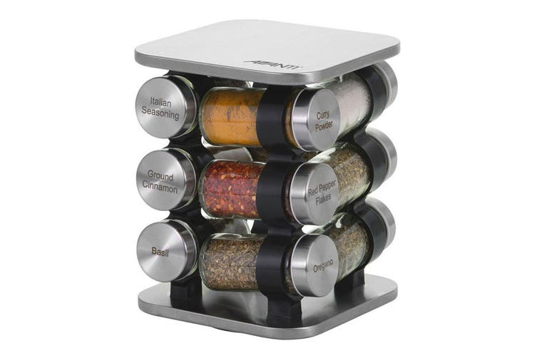Avanti 12 Jar Revolving Herb Spice Rack Stand Holder Organiser w  Herbs Spices