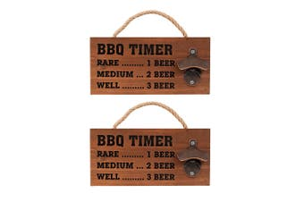 2x Avanti Wall Mountable Hanging Beer Bottle Opener Wooden Board Tool f  BBQ Bar