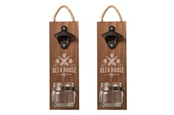 2PK Avanti Hanging Beer Bottle Opener Board w  Jar Bottle Cap Catcher BBQ Bar