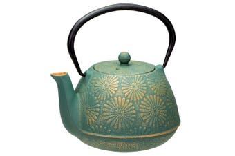 Avanti 1.2L Daisy Teapot Cast Iron Kitchen Coffee Tea Pot w  Lid Infuser Teal GD