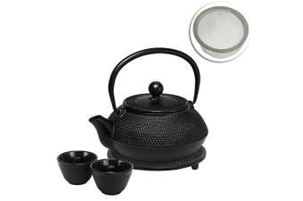 Avanti 800ml Hobnail Cast Iron Teapot Set Black Tea Coffee Kettle Pot w Strainer