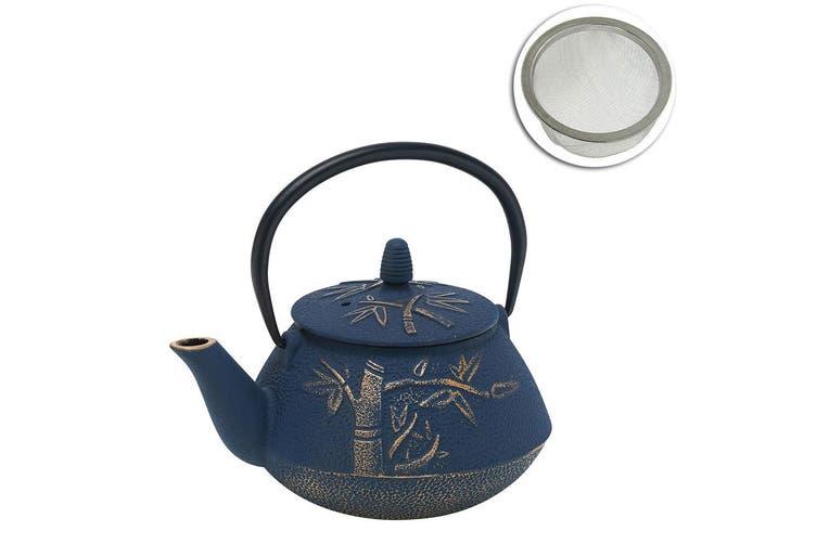Avanti 800ml Bamboo Cast Iron Teapot Tea Coffee Kettle Navy Bronze w  Strainer