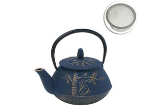Avanti 800ml Bamboo Cast Iron Teapot Tea Coffee Kettle Navy Bronze w  Strainer