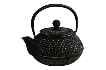 Avanti Imperial 800ml Cast Iron Teapot w  Stainless Steel Strainer Black Gold