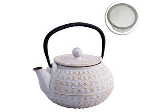 Avanti 900ml Empress Cast Iron Teapot White Gold Tea Coffee Kettle w  Strainer