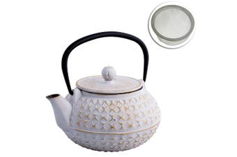 Avanti 900ml Empress Cast Iron Teapot White Gold Tea Coffee Kettle w  Strainer