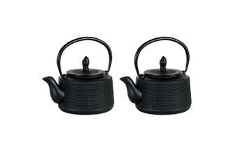 2x Avanti 750ml Emperor Hobnail Cast Iron Teapot w Removable Infuser Lid Tea Pot