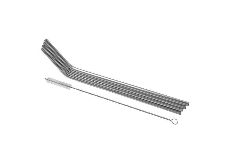 8PC Avanti Stainless Steel Reusable Eco Friendly Straws w  Cleaning Brush Drinks