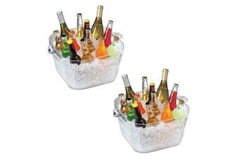 2x Serroni Fresco 16.6L Square Party Tub Wine Drink Cooler Bucket w Handle Clear