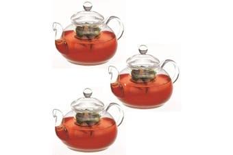 3PK Avanti 800ml Eden Glass Teapot w  Removable Glass Infuser Lid Tea Pot Clear