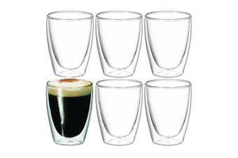 6pc Avanti 15366 Caffe Twin Wall Glasses 250Ml Coffee Tea Cafe Latte Drink Glass