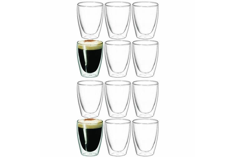 12pc Avanti Caffe Twin Wall Glasses 250ml Coffee Tea Cafe Chai Latte Drink Glass