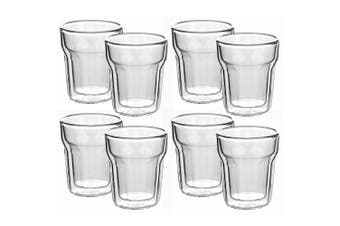8pc Avanti 100ml Nove Twin Wall Glass for Coffee Tea Water Hot Cold Drink Cup