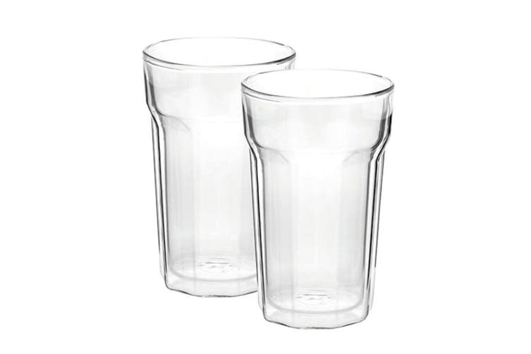 2PC Avanti 375ml Nove Twin Wall Glass f  Beer Juice Water Hot Cold Drink Tumbler
