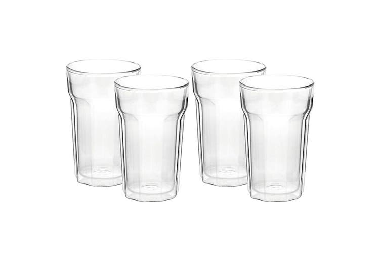 4PC Avanti 375ml Nove Twin Wall Glass f  Beer Juice Water Hot Cold Drink Tumbler