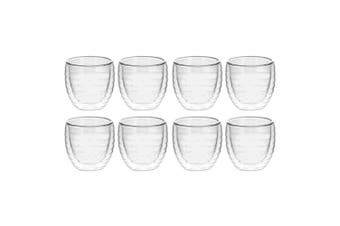 8pc Avanti Ripple 250ml Twin Wall Drink Glass Cup Mug Drinking Glasses Clear