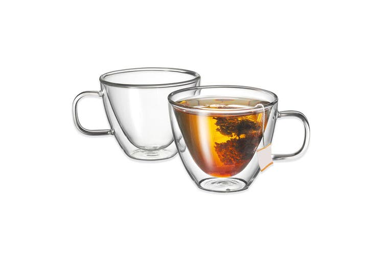 Avanti Sienna Twin Glass Wall 2pc 250ml Thermal Glasses Espresso Coffee Tea Cup